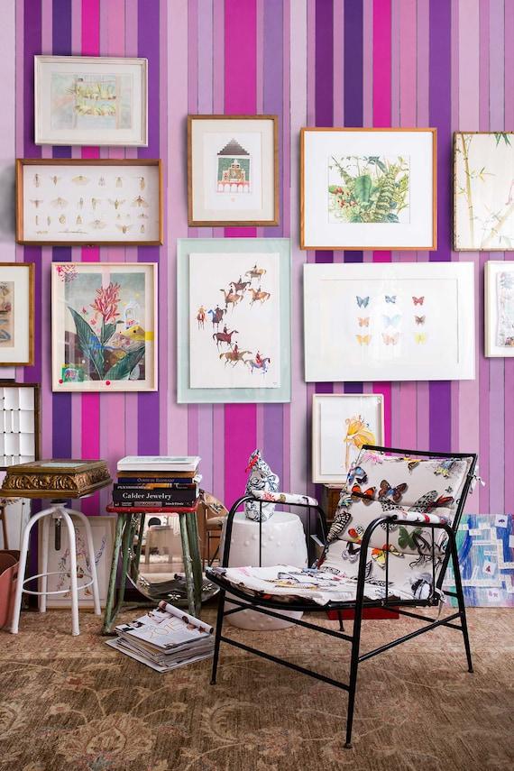 Papier Peint Rayures Rose Rayures Wallpaper Vintage Raye Etsy