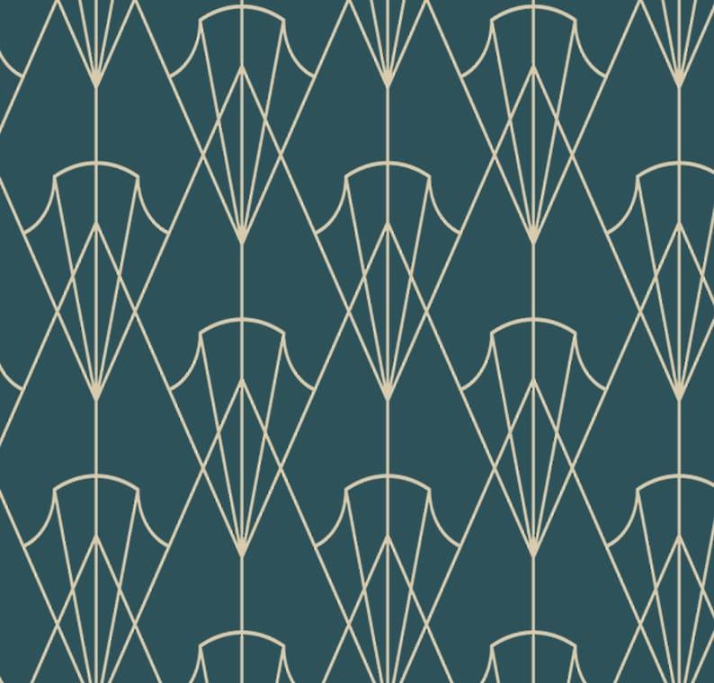 Kobalt Art-Deco-Tapeten, Vintage Tapete, 1930er Jahre Art Deco, Vintage  Tapete, Art-Deco-Wand, retro-Tapete, antike Tapete