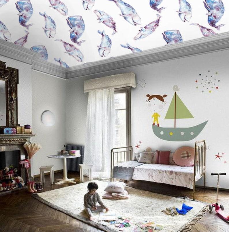 Whales Wallpaper Children Wallpaper Wallpaper Bedroom | Etsy