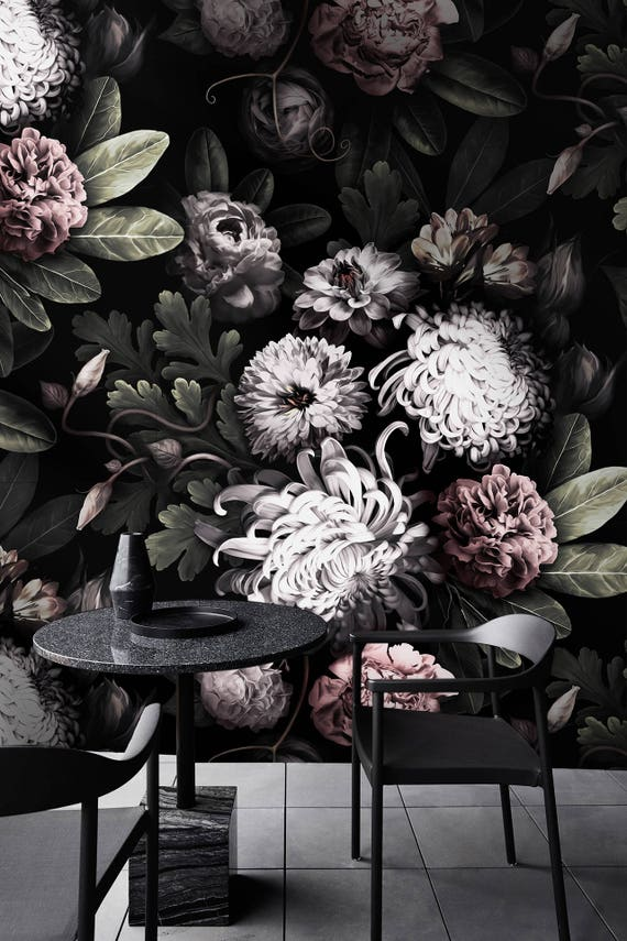 Dark Floral Wallpaper Floral Wallpaper Dark Flowers Peony Wallpaper Black Floral Wallpaper Removable Wallpaper Tropical Wallpaper