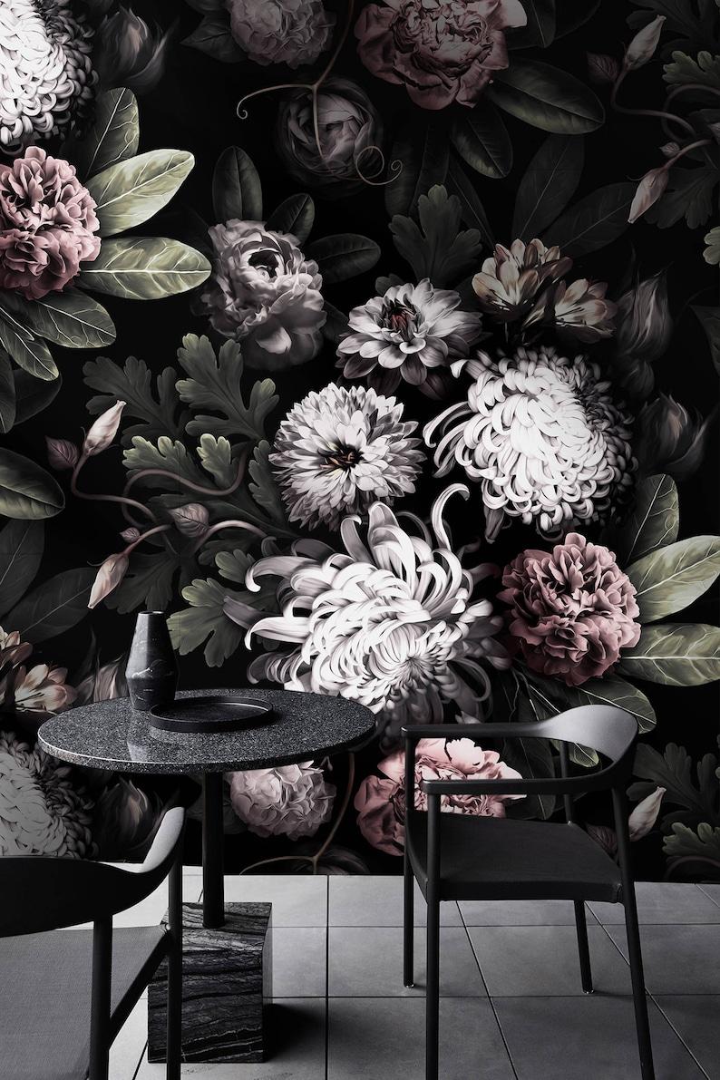 Dunkle Tapete Tapete Dunklen Blumen Pfingstrose Tapete Etsy