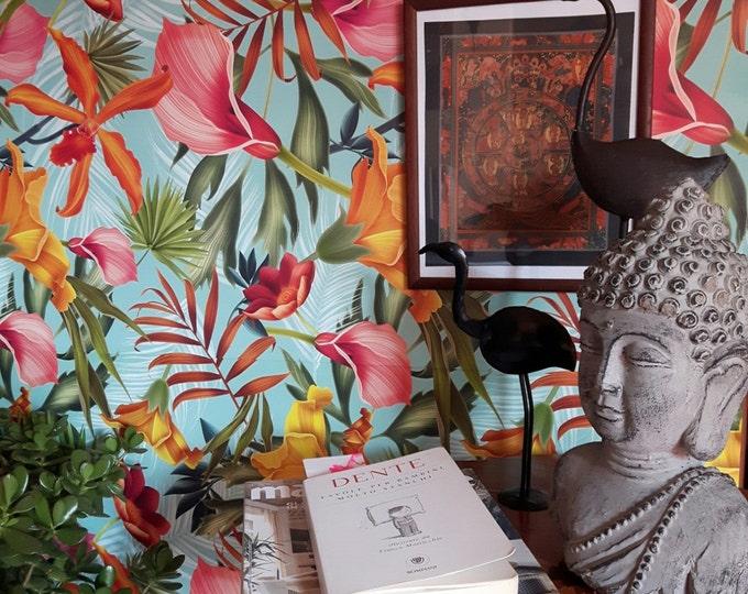 Balinese Wallpaper, Tropical Wallpaper, Floral Wallpaper, tropical mural, wallpaper, asian wallpaper, Chinoiserie, balinese, Wall Decor