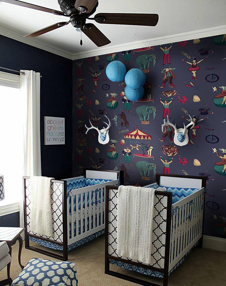 Kids Room Wallpaper Designs: Nursery Wall Decor, Circus Wallpaper, Children Wallpaper