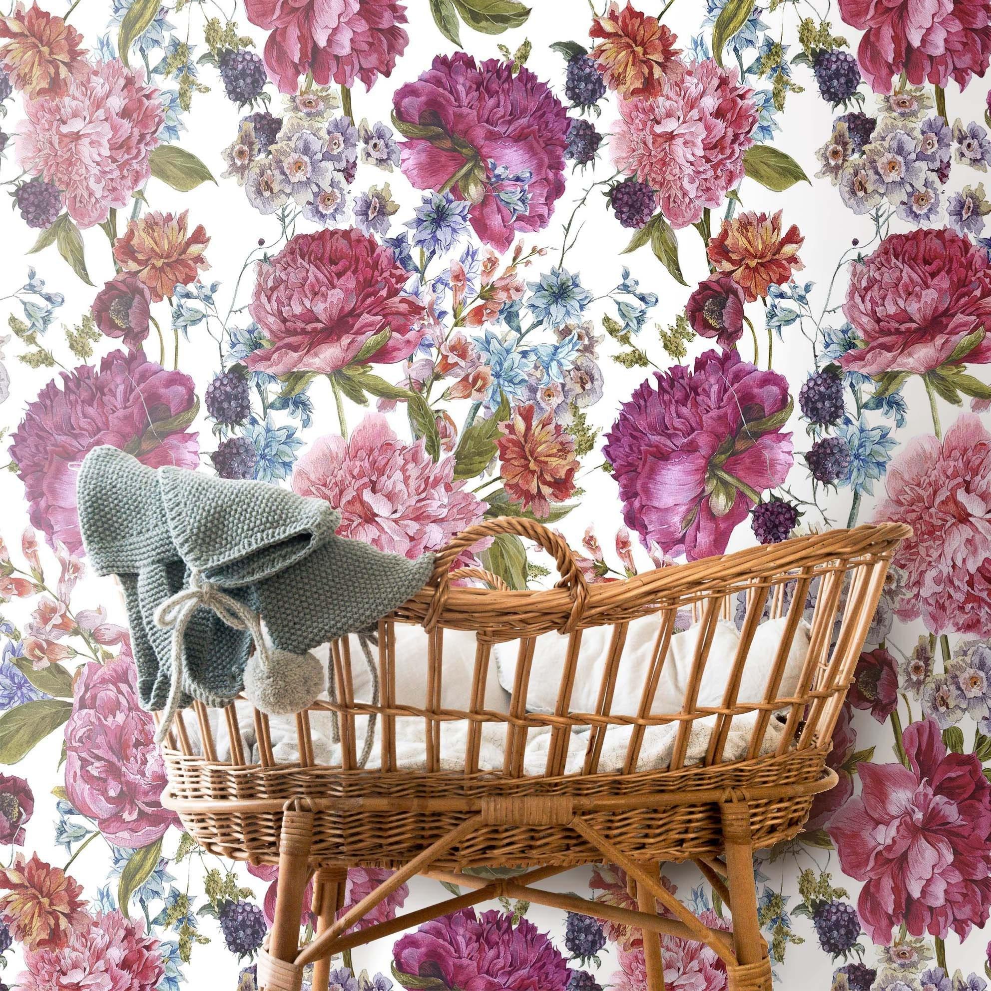 Custom Floral Wallpaper Nursery Wallpaper Floral Wallpaper Light