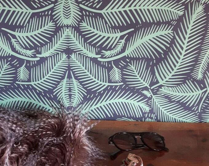 Dark wallpaper, Tropical Wallpaper, tropical, wallpaper, retro wallpaper, jungle, forest, removable wallpaper, tropical print, botanical art