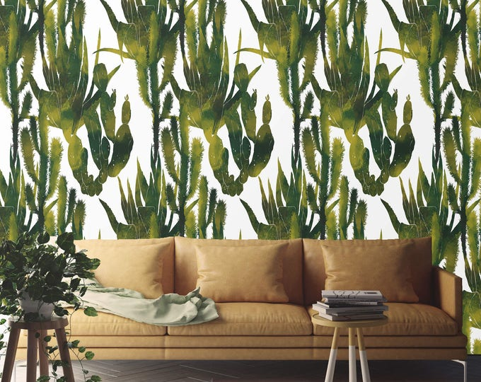 Cactus Wallpaper, cactus, wallpaper, watercolor wallpaper, watercolor, botanical wallpaper, removable wallpaper, wood wallpaper, wall art