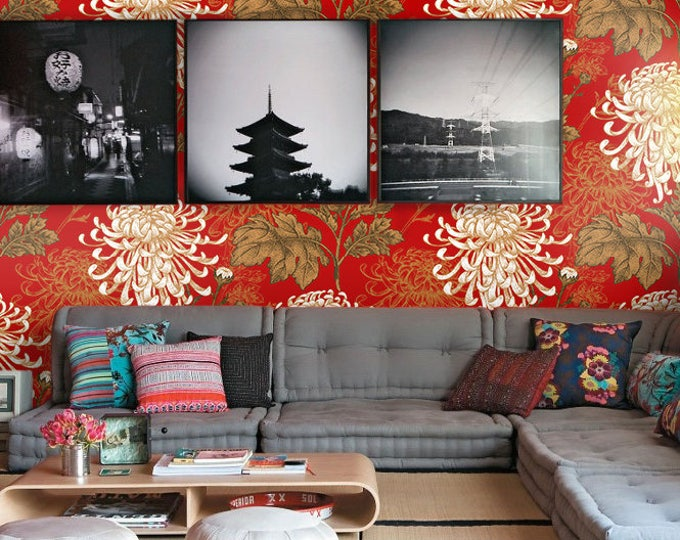 Japanese wallpaper, floral wallpaper, botanical wallpaper, asian wallpaper, japanese, flowers, chinoiserie, red wallpaper, retro wallpaper