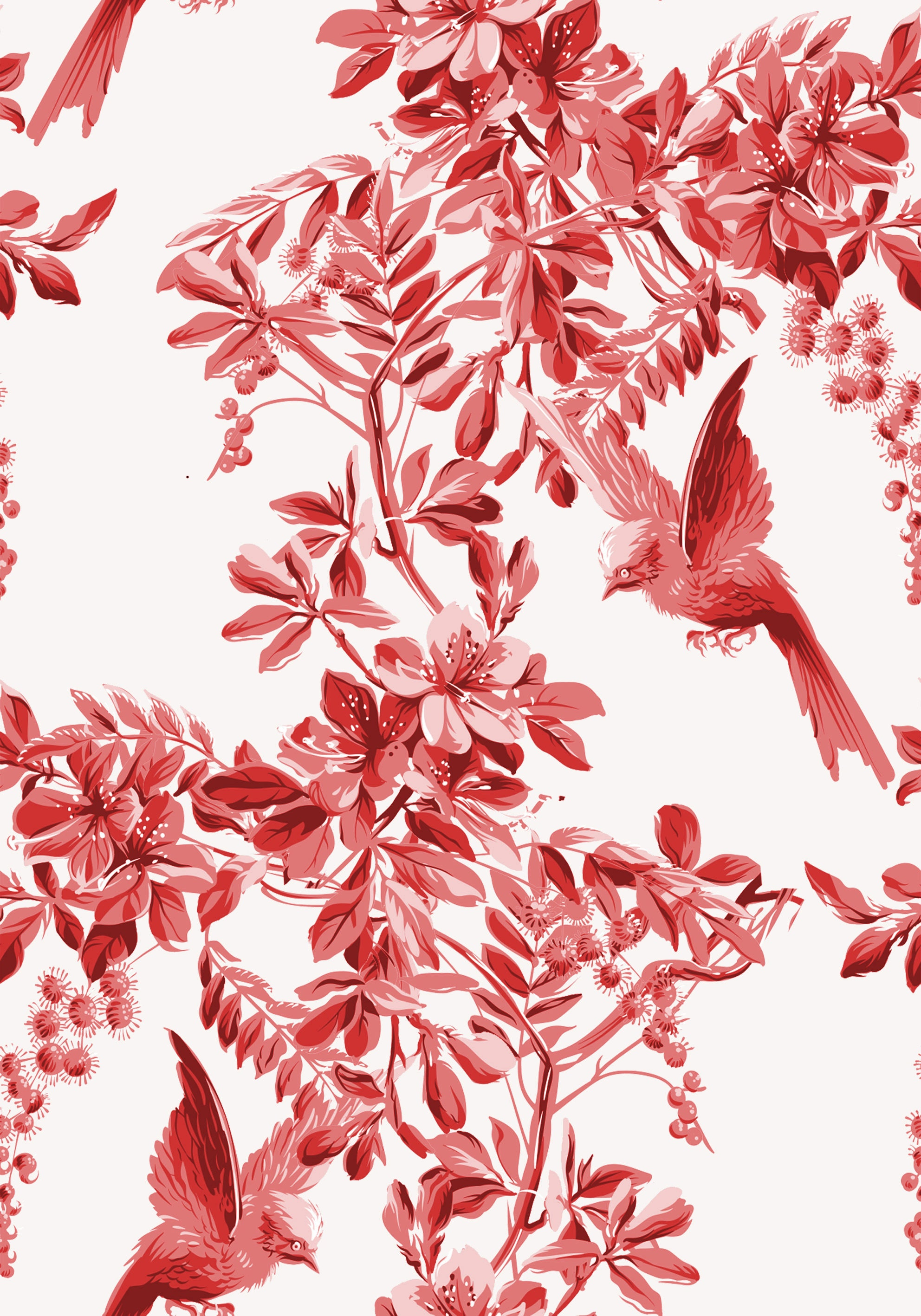 Custom Vintage Birds Wallpaper Birds Wallpaper Floral Wallpaper