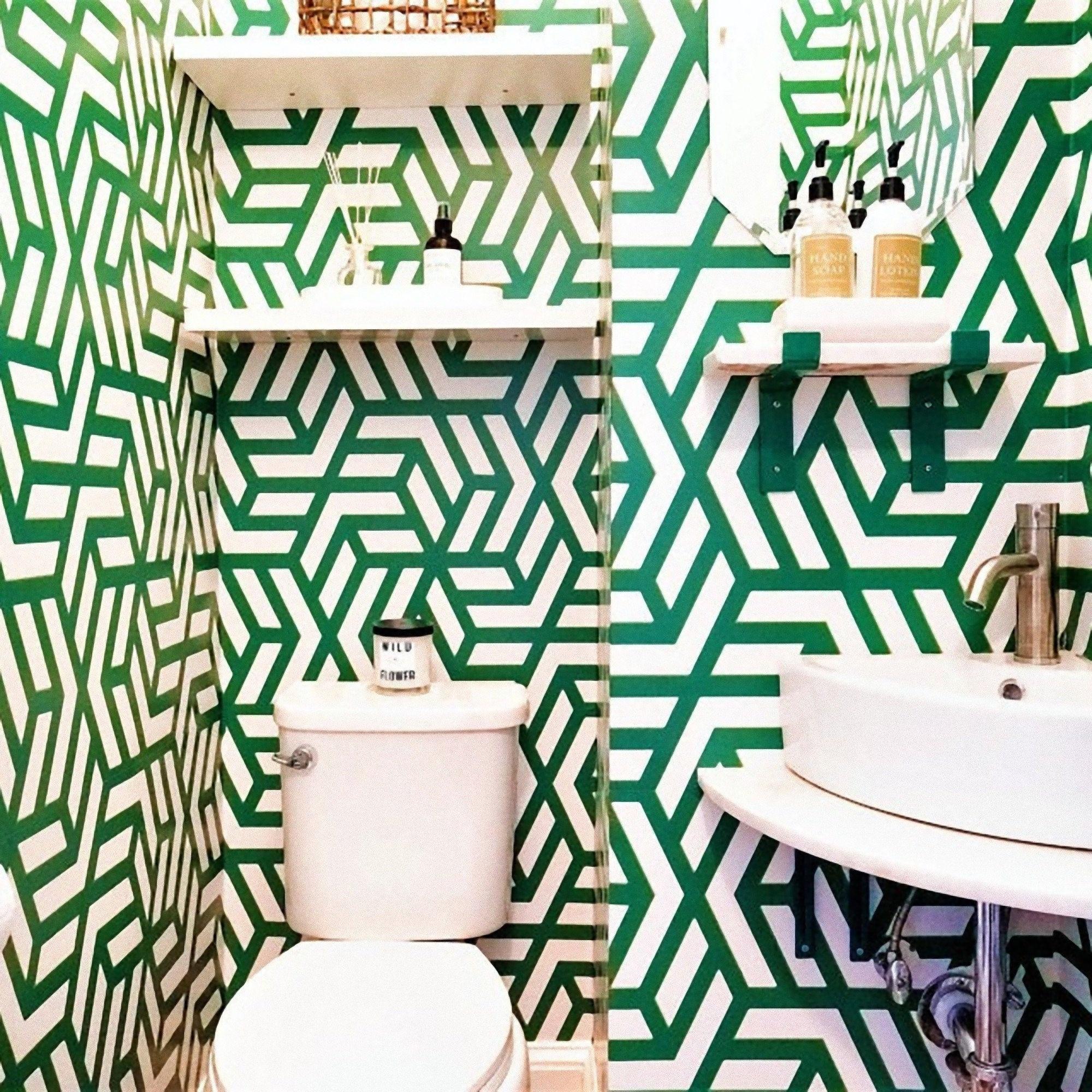 Mid Century Modern, Art Deco Tapete, geometrisches Wandpapier, Vintage  Tapete