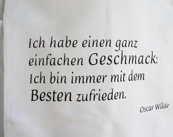 Dish towel flavor, quote Oscar Wilde, Black