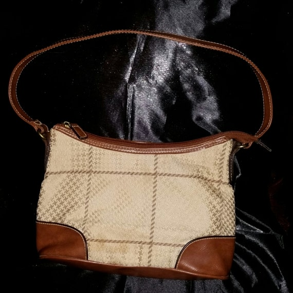 dc1ee31aa2 SALE 90s Vintage Purse   Leather   Pleather   Tan   Striped