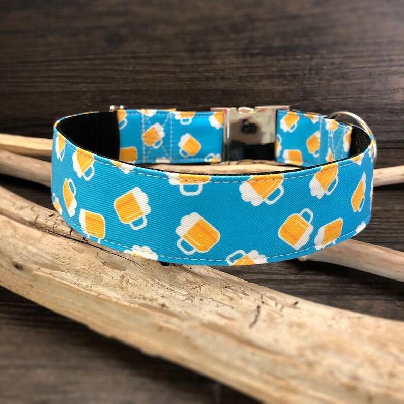 Beer dog collar ECO CANVAS dog collar boy dog collar funny dog collar Pub Crawl Dog Collar blue dog collar