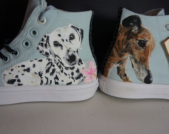 Custom Converse, Pet portrait shoes, dog memorial, dog, cat, rabbit, snake, pet ashes, pets remembered, rememberance, remembrance.