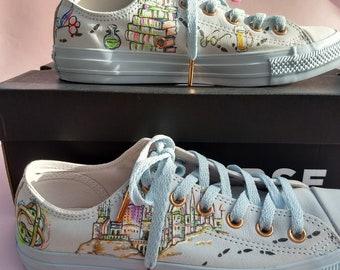 Harry Potter inspired hand painted onto your sneakers, trainers, converse, vans, toms, grindelwald, fantastic beasts, wizard, hermione