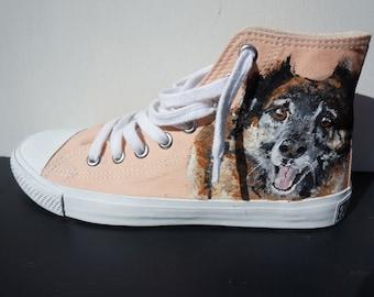 Hand painted your custom converse, sneakers, trainers, vans, pet portrait, pet, dog, cat, wolf, lynx, fox, rabbit, hare, snake, reptile,bird