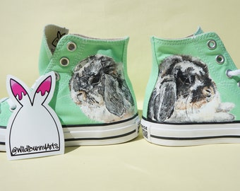 Custom Converse trainers customised, child portrait, pet portrait, sneakers, nikes, Adidas, vans, hand painted, memorial, ashes, cat, dog