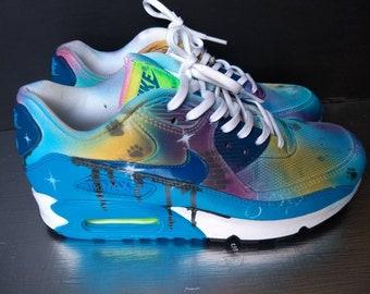 Custom Nike Air Max 90, Jordans, painted Nikes, Air Force 1, airbrushed, paw print, camoflage,  roshe, splatter, drippy nikes, paint splash