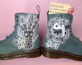Painted custom Doc Martens leather boots, graffiti, hand painted chinese clouds, custom docs, any design, valentines day, rat, yin yang, tea
