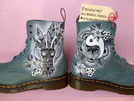 Painted custom Doc Martens leather