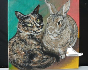 Pet portrait, one of a kind,  signed by artist. Hand painted acrylic on linen canvas. dog cat rabbit parrot reptile snake Hedgehog rat degu