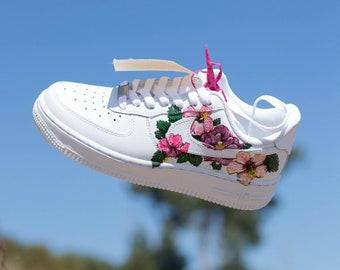 Custom Nike Air Force 1, Adidas, Jordans, painted Nikes, Air Max, Urban Camo, camoflage,  roshe, hawaii, drippy, splash, hibiscus, tropical