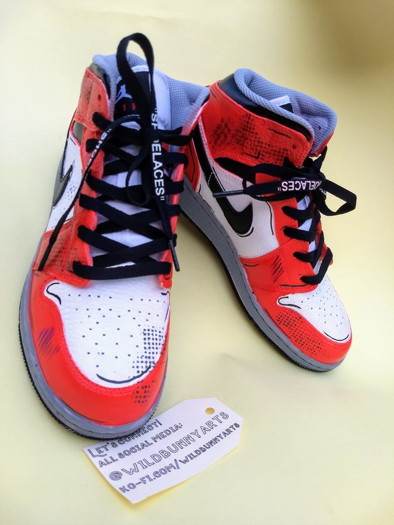 info pour b13f2 280f1 Custom Nike Air Jordan 1 mid, Adidas, Jordans, painted Nikes, Air Max,  spiderman, into the spiderverse, spider verse, miles morales