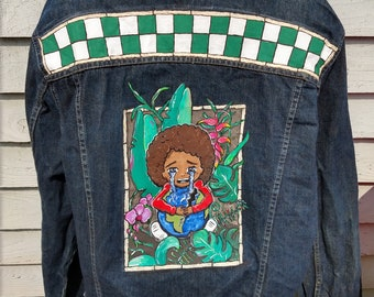 Please! Save my Earth.  One of a kind unique one off, denim hand painted festival jacket coat. Inspired by #youthstrike4climate UK16
