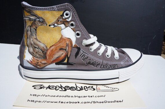 Hand painted Converse sneakers, shoes, rabbit, suicide squad, hare, fairy, jungle, wolf, fine art, fox, animal, pet, fantastic beasts