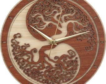 Yin Yang Tree of Life Clock in wood - Limited Production