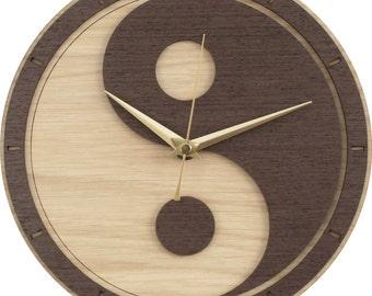 Yin Yang Clock in wood - (Yin and Yang / Yin-Yang)