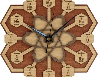 Periodic Table Clock in wood / Chemistry Clock / Science Clock