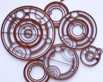 Doctor Who Gallifreyan sign in wood, inspired by the Doctor's Crib / Cot