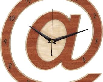 At Clock - @ Clock in wood - Arroba Clock