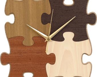 Puzzle Clock in Wood