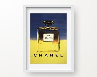 Coco Chanel Print, Vintage Poster, Chanel No. 5 Print, Perfume Printable, Blue Yellow Instant Download, Digital Home Print