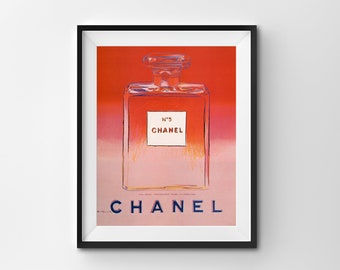 Coco Chanel Print, Vintage Poster, Chanel No. 5 Print, Perfume Printable, Pink Red Instant Download, Digital Home Print