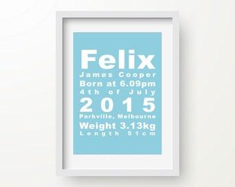 Custom Birth Print, Personalised Baby Announcement, Nursery Art, New Parents