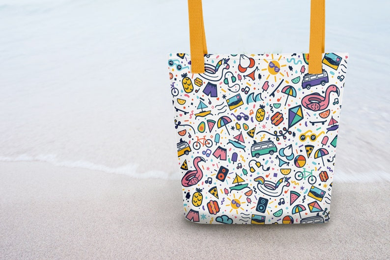 Bright Summer Pattern Beach VW Bus Pizza Summer Reusable Tote Bag 15in x 15in Pool Pineapple