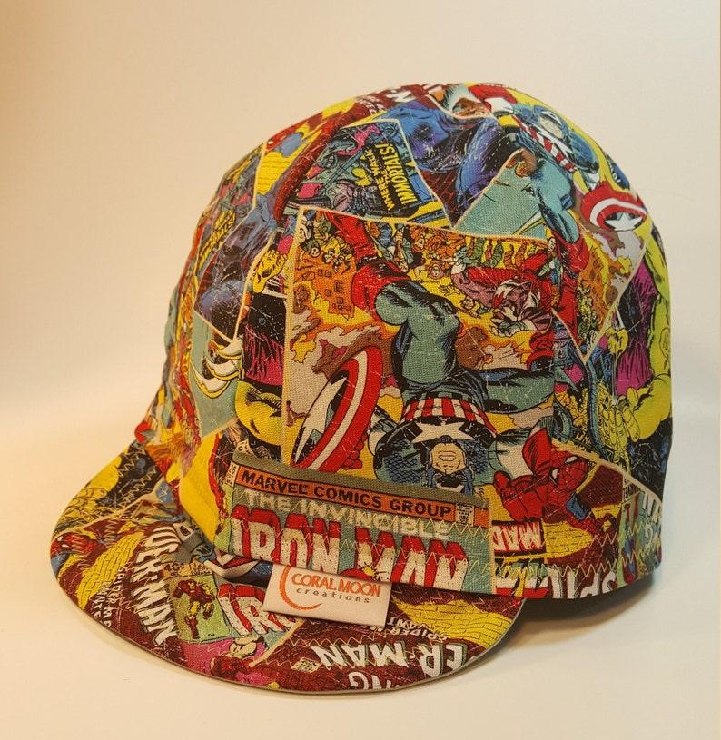 b321b33041014b Marvel Comics Welding Cap Reversible Cap Soft Bill Baseball   Etsy