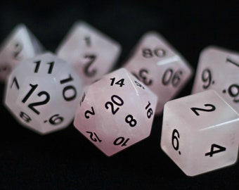 Rose Quartz Gemstone Polyhedral Dice Set:  Hand Carved with Quality!  Full-Sized 16mm.  Great for DnD RPG Dungeons and Dragons.