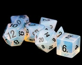 Opalite Gemstone Polyhedral Dice Set Hand Carved with Quality Full-Sized 16mm. Great for DnD RPG Dungeons and Dragons