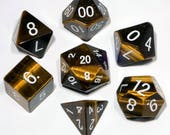 Tiger 39 s Eye Gemstone Polyhedral Dice Set Hand Carved with Quality Full-Sized 16mm. Great for DnD RPG Dungeons and Dragons