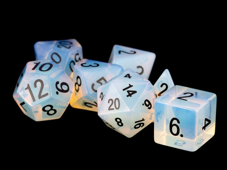 Opalite Gemstone Polyhedral Dice Set:  Hand Carved with image 0