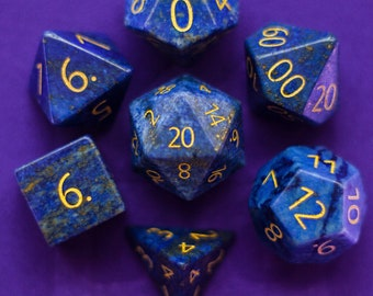 ENGRAVED Lapis Lazuli Gemstone Polyhedral Dice Set:  Hand Carved with Quality! Full-Sized 16mm. Great for DnD RPG Dungeons and Dragons