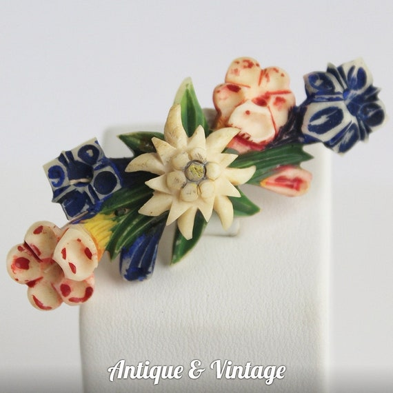 Antique Celluloid Flowers Brooch Pin