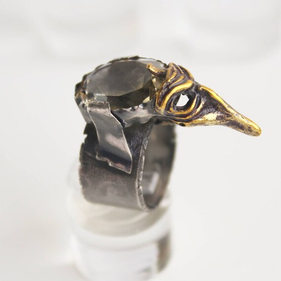 Unique Silver Large Natural Citrine Ring Raven The