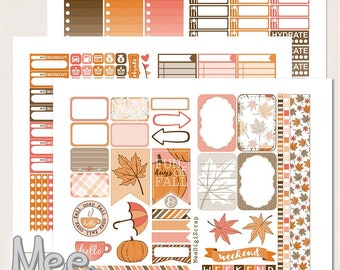 Fall planner stickers,THP size stickers,Printable planner stickers,Autumn weekly sticker set,Fall sticker kit,Orange,Brown,Pink,happy fall