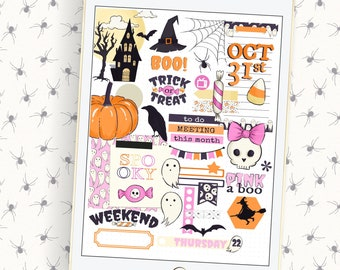 Pink Halloween Digital planner stickers for use with  planners on your iPad or phone,goodnote sticker book, October stickers,cute Halloween