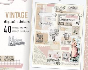 Junk journal digital stickers, Vintage digital planner stickers,craft paper sticky notes,goodnote or xodo planner stickers,digi bujo sticker