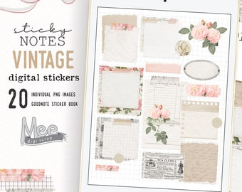 Digital planner stickers,Torn Sticky Notes,vintage rose,digital bujo,art journal,junk jornal stickers for use on Ipad,goodnotes,xodo